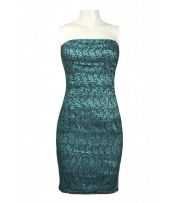 ADRIANNA PAPELL 041872340 Ocean Strapless Short Dress Sz 10 Teal NWT Retail $180