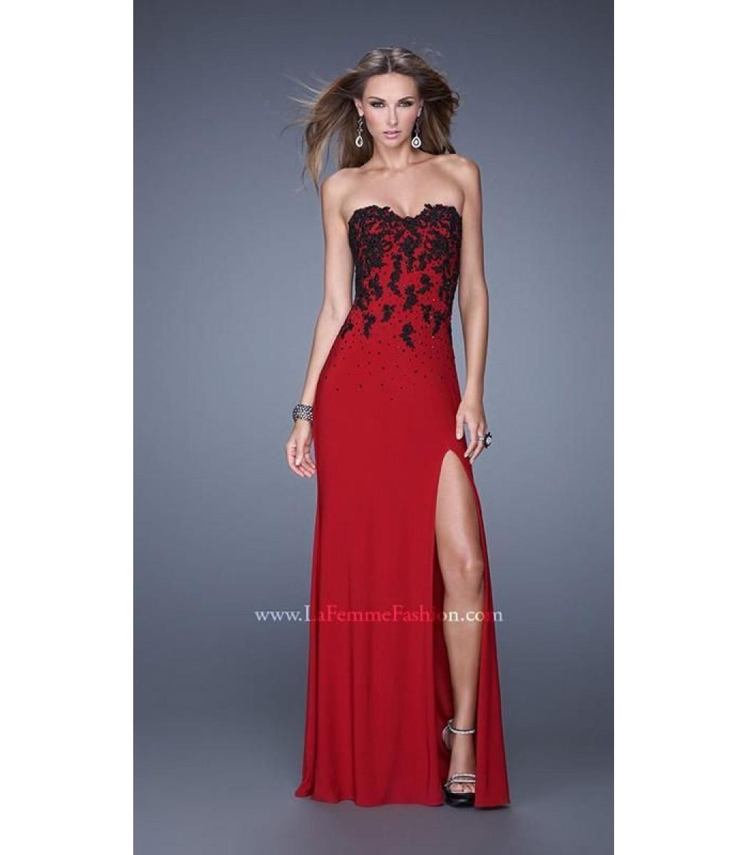 La Femme 20719 Crimson Red Black Evening Gown Formal Dress Size 4 8 ...