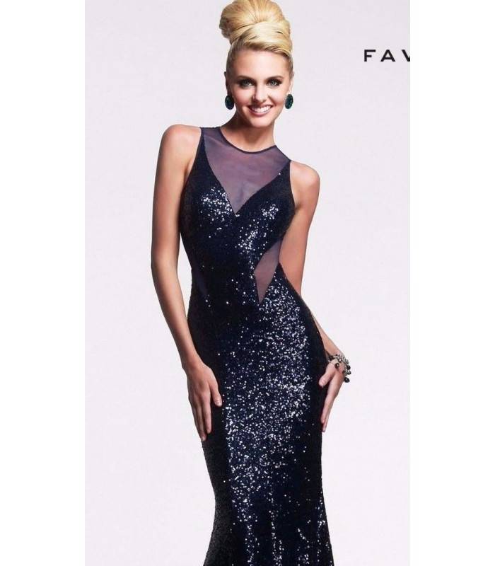 Faviana 7331 Navy Blue Sequin Formal Evening Gown Size 4 UK 6 NWT Prom Pageant