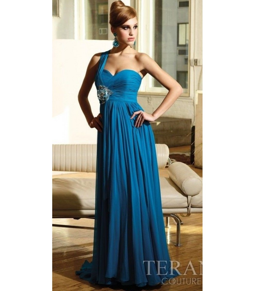 Terani Couture E1103 Turquoise One Shoulder Evening Gown Dress Size ...