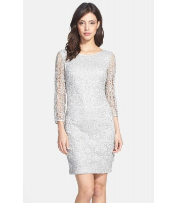 ADRIANNA PAPELL  041889100 Silver Lace Cocktail Dress Size Sz 10 12 14  New NWT