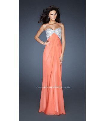 La Femme 18313 Hot Coral Peach Evening Gown Prom Dress Size 6 NWT Retail $300