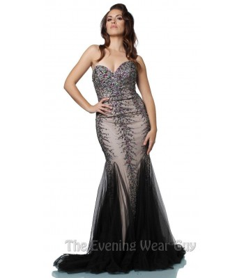 Authentic Jovani 683 Black Sheer Formal Evening Gown Dress Sz 8 NWT Retail $570