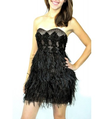 Jovani 704 Black Feather Lace Short Party Dress US Size 4 6 NEW RETAIL $400