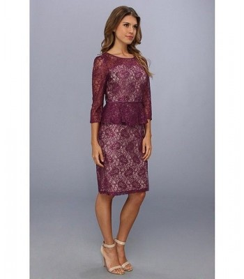 ADRIANNA PAPELL 014230700 Plum Lace Cocktail Dress US Size 12 16 RETAIL $180 NWT