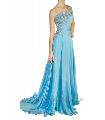 AUTHENTIC Tony Bowls 212C83 Turquoise Full Length Evening Gown Dress RETAIL$1300