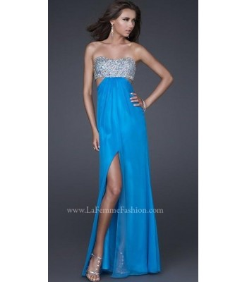 La Femme 16291 Strapless Turquoise Silver Prom  Gown Dress Sz 8 NEW Retail $338