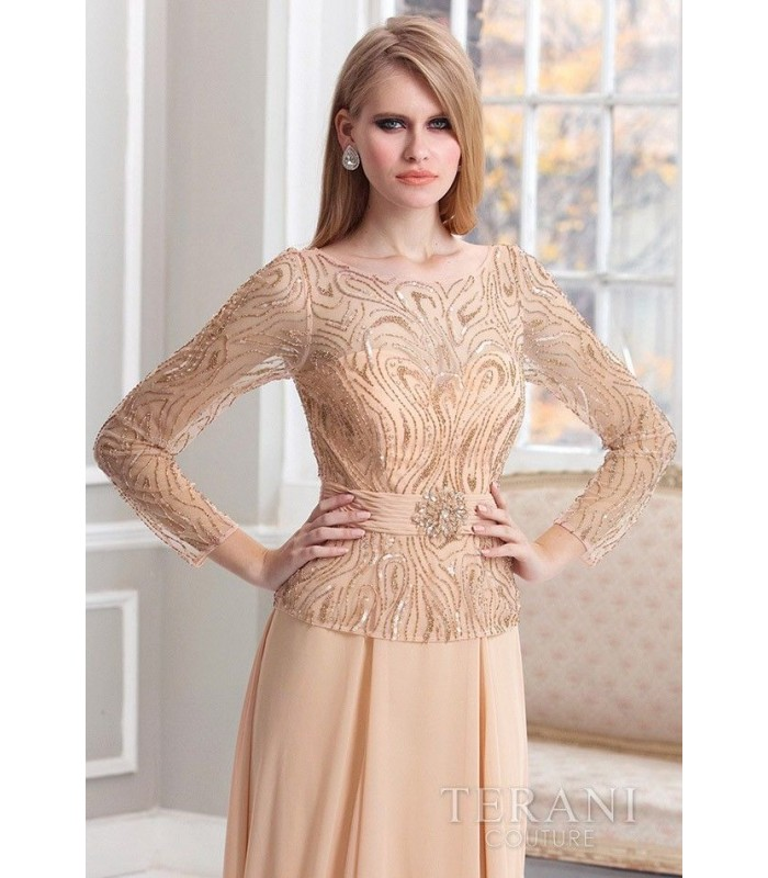 Terani Couture M1819 Peach Formal Evening Gown Dress Size 14 NWT Long Sleeve MOB