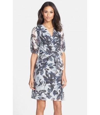 ADRIANNA PAPELL 013234880 Gray White Mock Wrap Cocktail Dress RETAIL $120 NWT