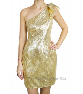 Scala Q17086 Gold Sequin Mini Cocktail Party Dress Sz 6 NWT Homecoming Clubwear