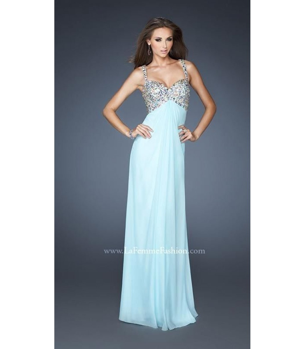 La Femme 18841 Chiffon Pale Ice Blue Full Length Dress Evening Gown ...