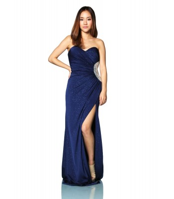 Jovani 6436 2013  Empire Satin Strapless A-line Royal Size 0 NWT Retail$460