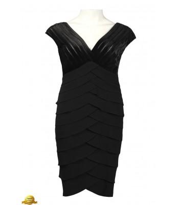 ADRIANNA PAPELL 041874381 Black Velvet Short Cocktail Dress Plus Size 18 NEW NEW