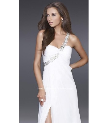 La Femme 15360 White Formal Long Grecian Evening Gown Dress Size 6 NEW NWT