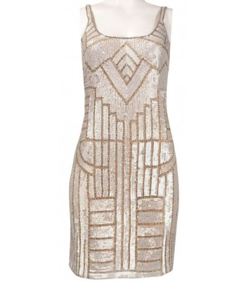ADRIANNA PAPELL 041886030 Nude Champagne Silver Cocktail Dress Size 8 10 12 NWT