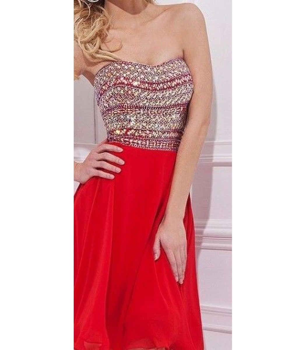 455a08ed4f1 Tony Bowls TS21457 Red Tube Top Short Dress Size 10 New NWT Prom.  262.50