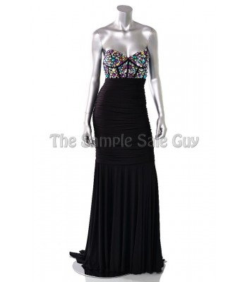Jovani 73022 Black Fitted Embellished Gown Dress Size 4 NWT $575 RETAIL Prom!