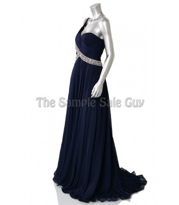 Jovani 6919 Navy/Silver One Shoulder  Gown Dress Size 8 NWT $575 RETAIL Prom!