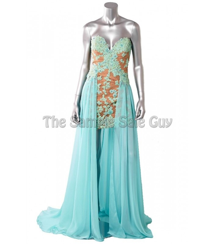 Sherri Hill 11143 Aqua Formal Evening Dress Gown Size 2 6 NWT Prom Retail $450