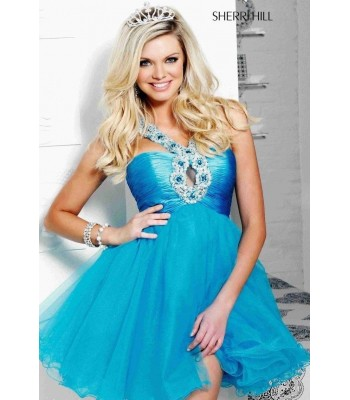 Authentic Sherri Hill 2471 Cocktail Party Dress Turquoise Sz 4 NWT Retail $350