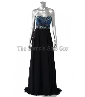 Tony Bowls Le Gala 115544 Black/Blue Formal Evening Gown Dress Size 4 NWT  New