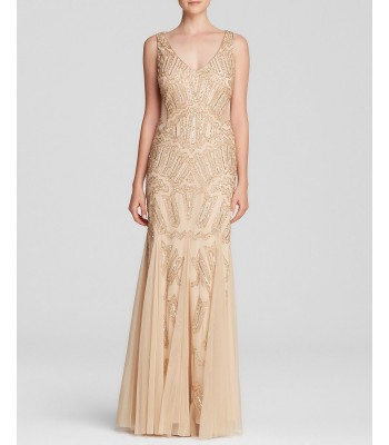 ADRIANNA PAPELL 091892290 Light Gold Long Beaded Gown Dress Size 8 10 12 New NWT