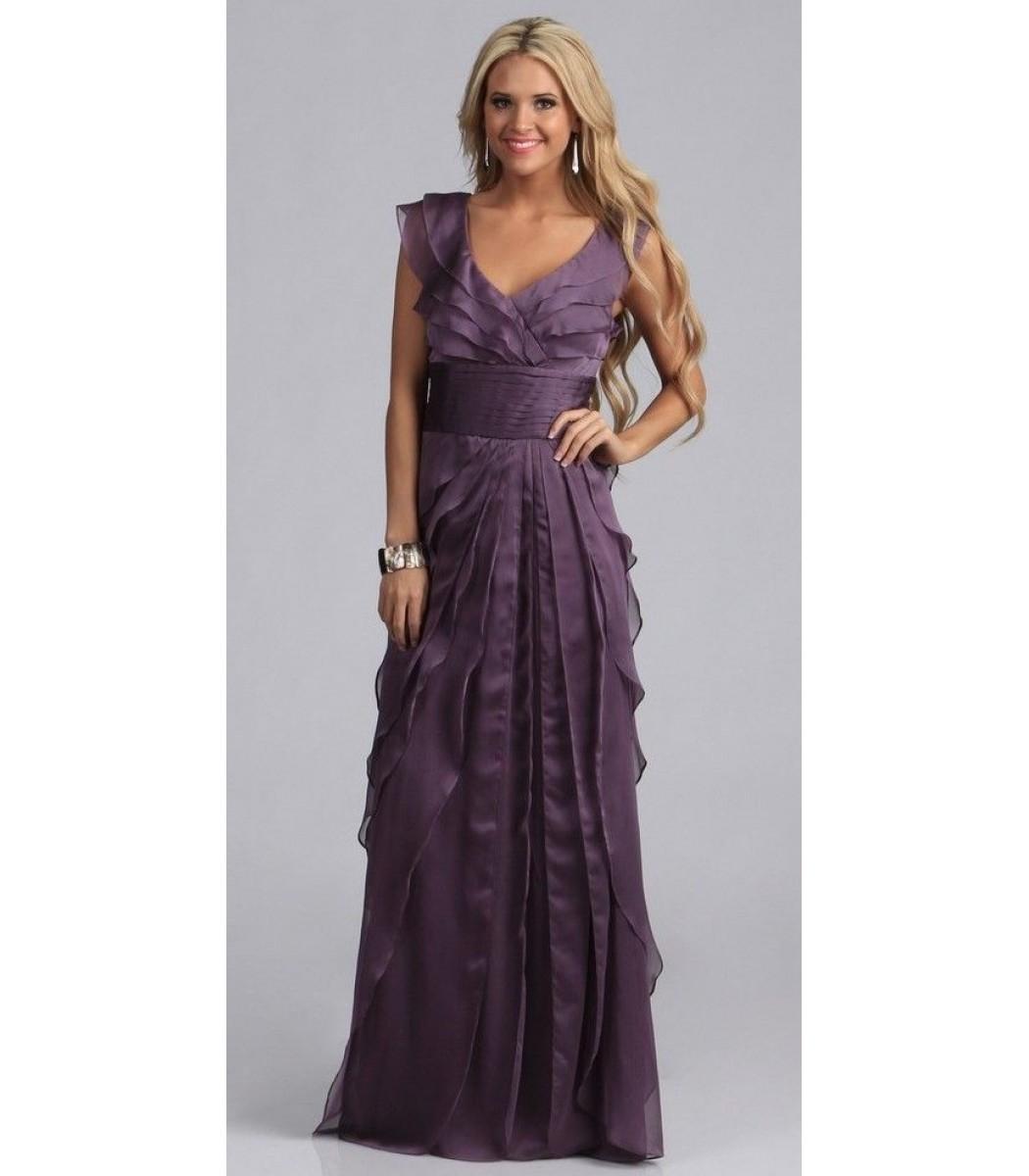 ADRIANNA PAPELL 081844460 Eggplant Purple Chiffon Gown Dress Sz 6 8 ...