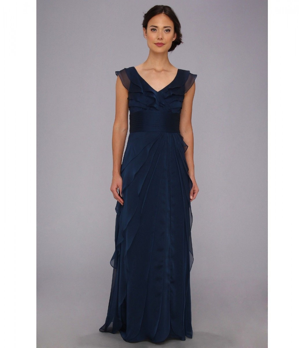 ADRIANNA PAPELL 081844460 Navy Blue Tiered Chiffon Gown Dress Size ...
