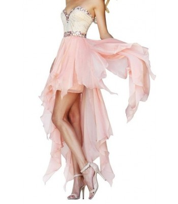 Sherri Hill 1920 Strapless Peach Hi Low Lo Mini Party Dress Gown Size 2 NEW