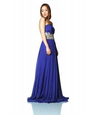 La Femme 18123 Indigo Blue Formal Evening Gown Prom Dress Size 2 NWT Retail $500