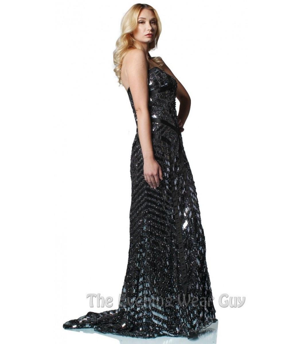 Sherri Hill 2813 Black/Gunmetal Evening Gown Dress Size 10 NWT ...