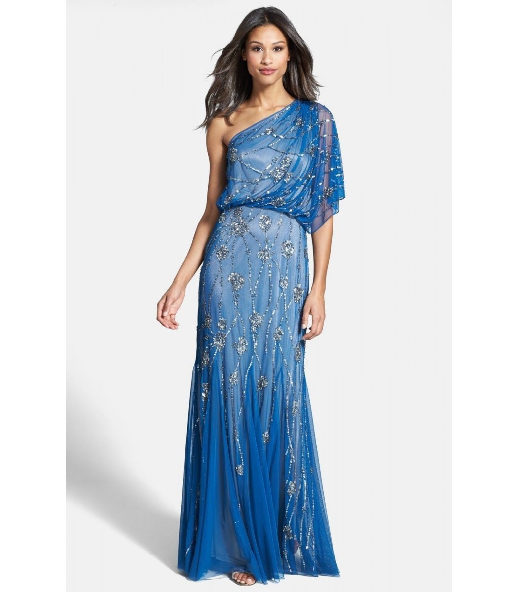 ADRIANNA PAPELL 091860320 Blue Lapis One Shoulder Gown Dress U.S. Sz ...