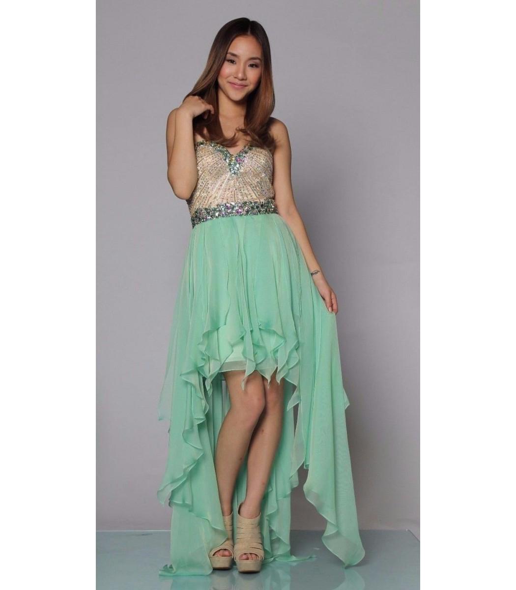 Sherri Hill 1920 Green High Low Formal Evening Dress Gown Size 0 4 ...