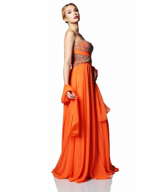 Sherri Hill 3914 Orange Strapless Formal Evening Gown SZ 8 NWT Pageant Prom