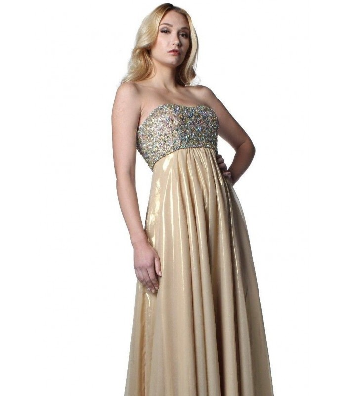Authentic Jovani 5819 Gold Formal Evening Gown Dress Size 4 8 NWT Retail $480