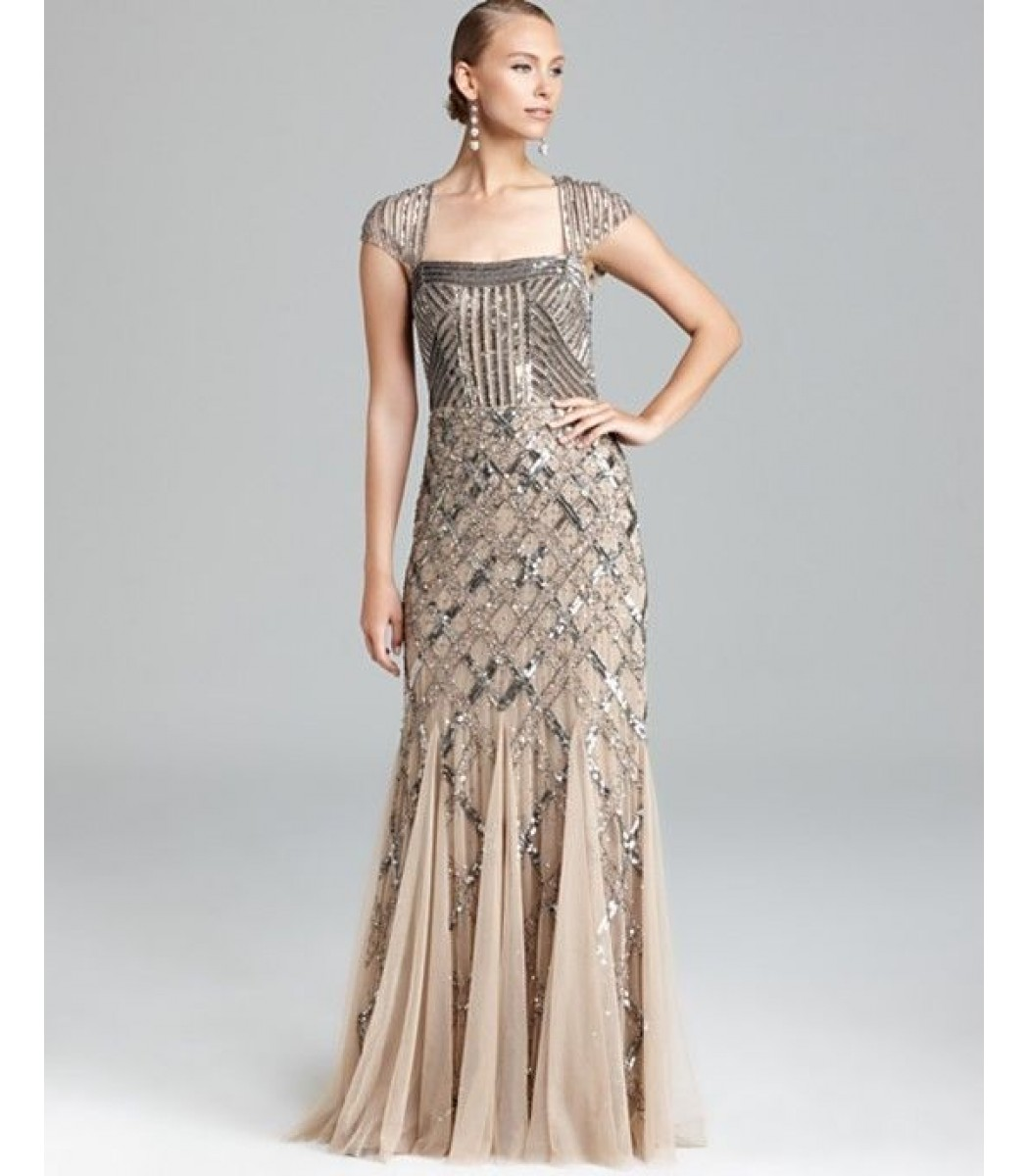 ADRIANNA PAPELL 092875460 Nude Formal Evening Gown Dress Sz 4 6 8 10 ...