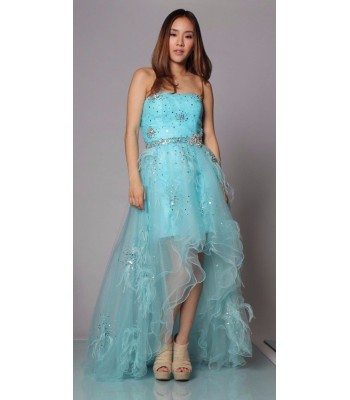Jovani 5841 Pale BLUE High Low Strapless Gown Dress Size 6 NWT $550 RETAIL Prom!