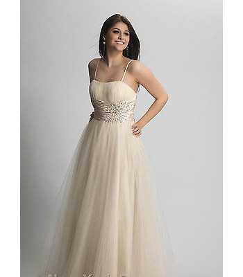 Dave&Johnny 8253 A line Champagne Evening Dress Prom Clearance !!! RETAIL $265