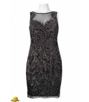 ADRIANNA PAPELL  041892610 Black Beaded  Cocktail Dress Size 6 8  New NWT