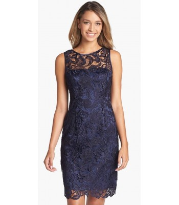 ADRIANNA PAPELL 041863800 Navy Blue Cocktail Dress Size 8 10 NWT Retail $170