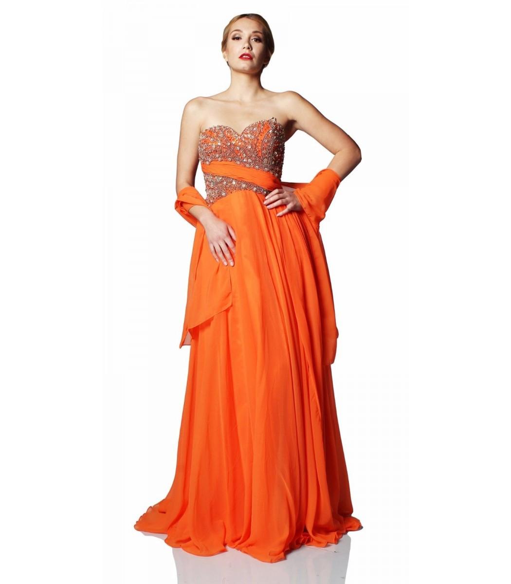 Sherri Hill 3914 Orange Strapless Formal Evening Gown SZ 8 NWT ...