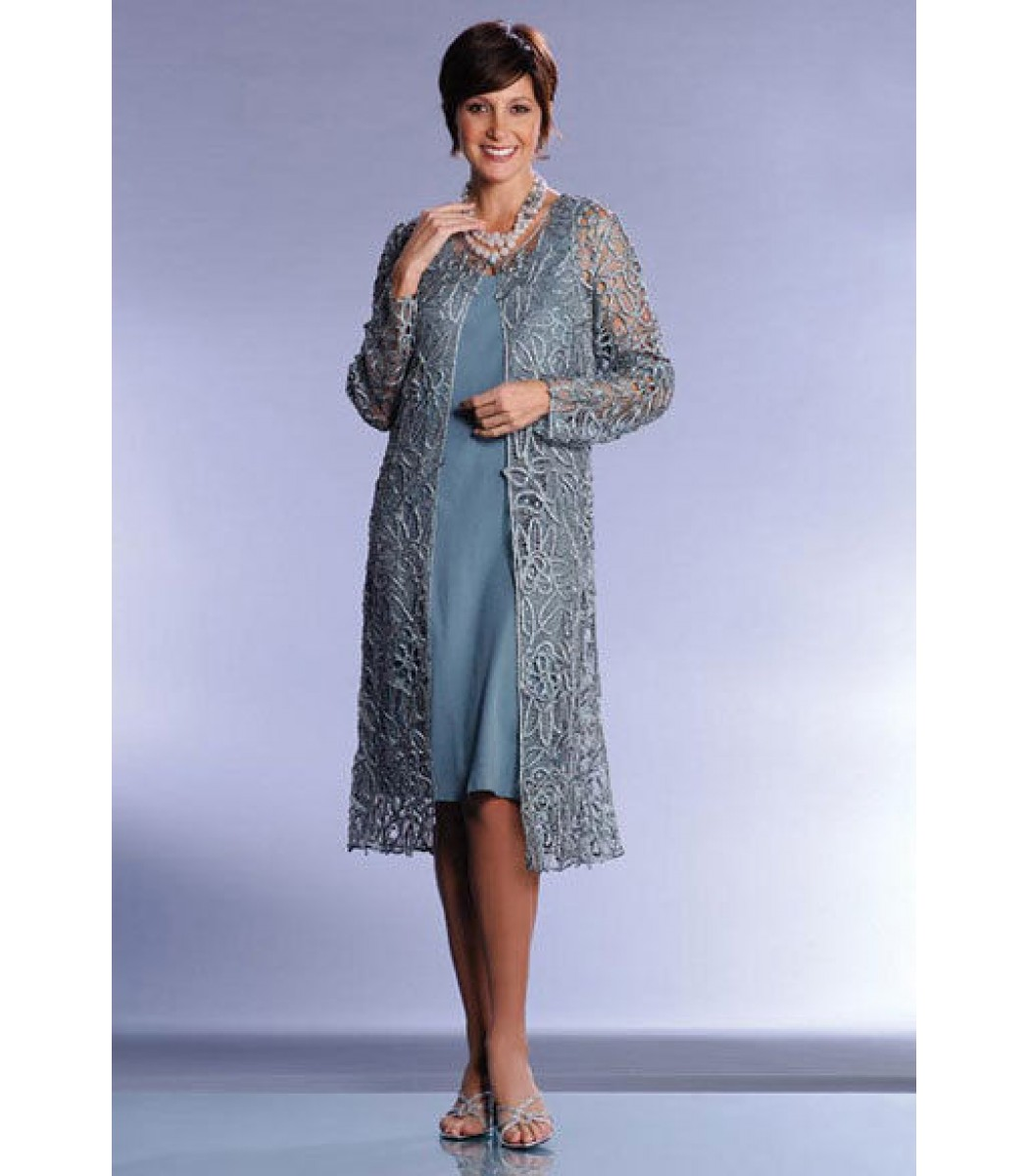Soulmates C880 Frosty Pale Blue Formal Dress Gown Duster Jacket Size ...