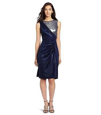 ADRIANNA PAPELL 041871341 Navy Blue Sequin Short Cocktail Dress Plus Size 16 NEW