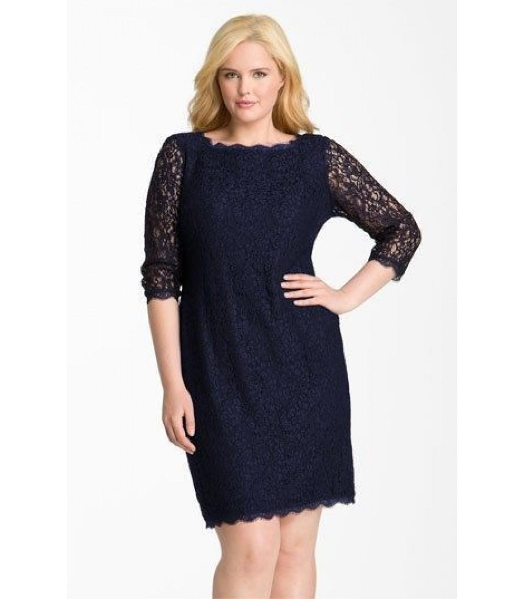 ADRIANNA PAPELL 041864781 NAVY Blue Lace Cocktail Dress Plus Size ...