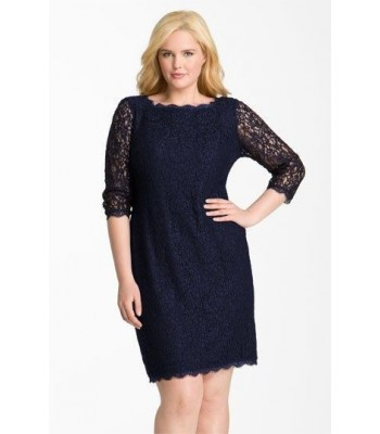 ADRIANNA PAPELL 041864781 NAVY Blue Lace Cocktail Dress Plus Size  20W 22W