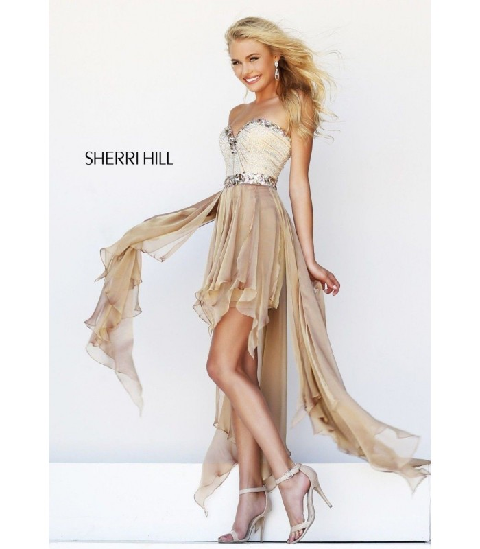Sherri Hill 1920 Nude High Low Formal Evening Dress Gown Size 4 NWT Pageant