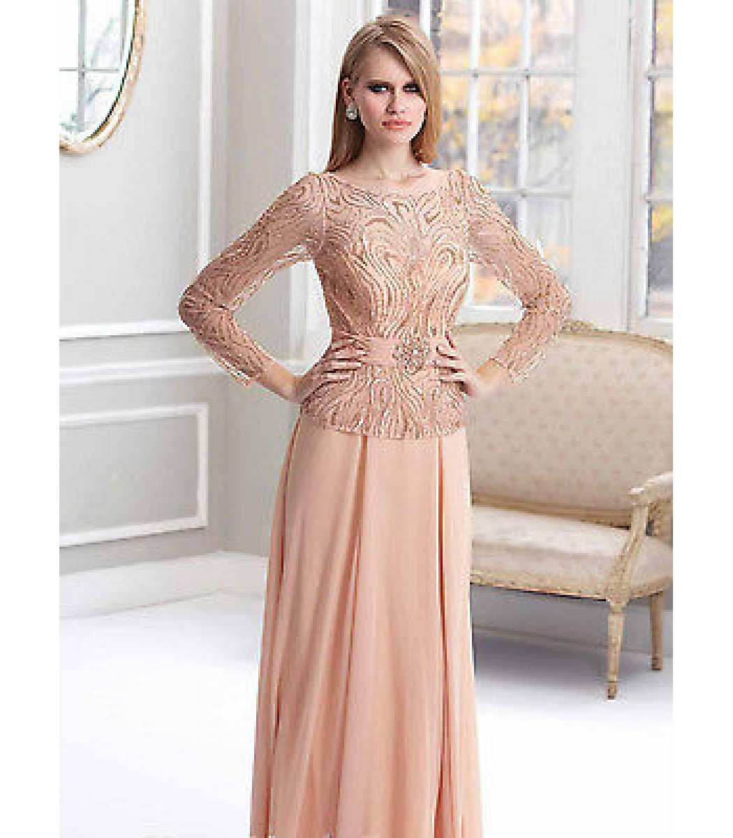 Terani Couture M1819 Peach Formal Evening Gown Dress Size 14 NWT ...